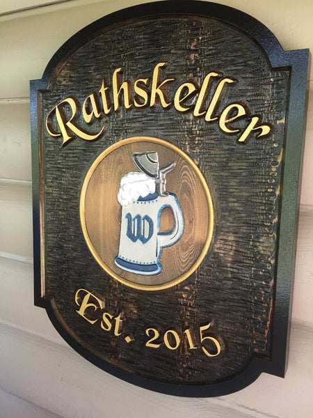 Rathskeller cedar bar sign with stein image -iso3