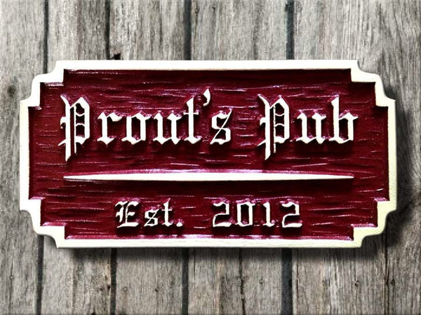 Pub sign with textured background raised letters and border