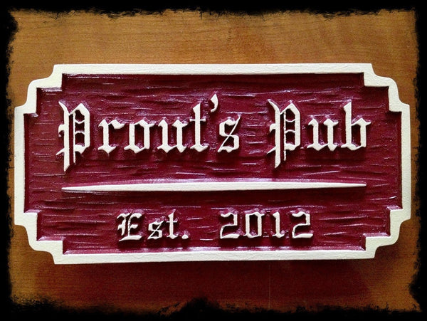 chiseled pub sign with old English font