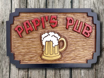 Personalized Carved Cedar Bar or Pub Sign with Beer Stein (BP8) - The Carving Company