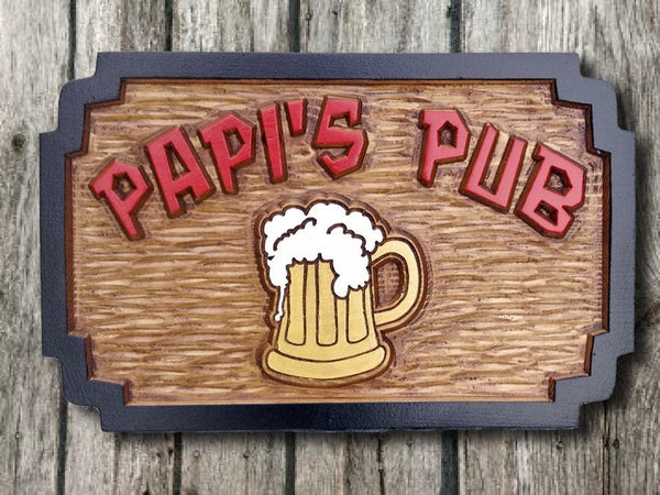 Cedar pub sign rectangle with double notched corners and beer mug