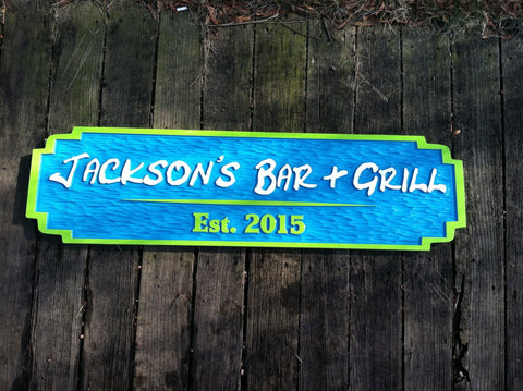 Jackson's bar and grill sign custom carved