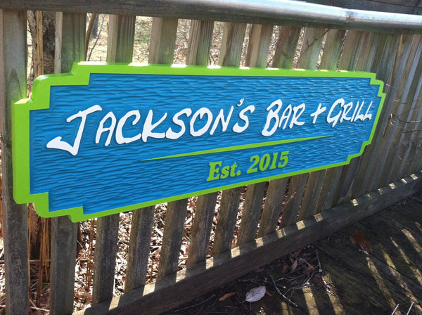 custom carved Jackson's bar and grill sign - iso 3