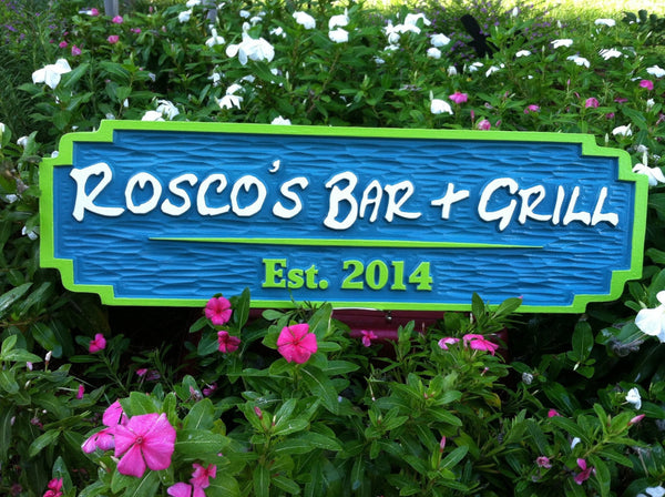 Rosco's bar and grill sign front view painted blue and lime green