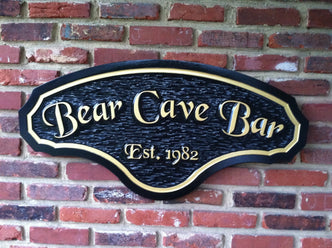 Bar sign with est. date - Man Cave  (MC5) - The Carving Company