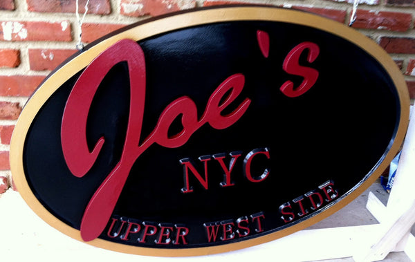 Joes NYC custom logo business sign oval