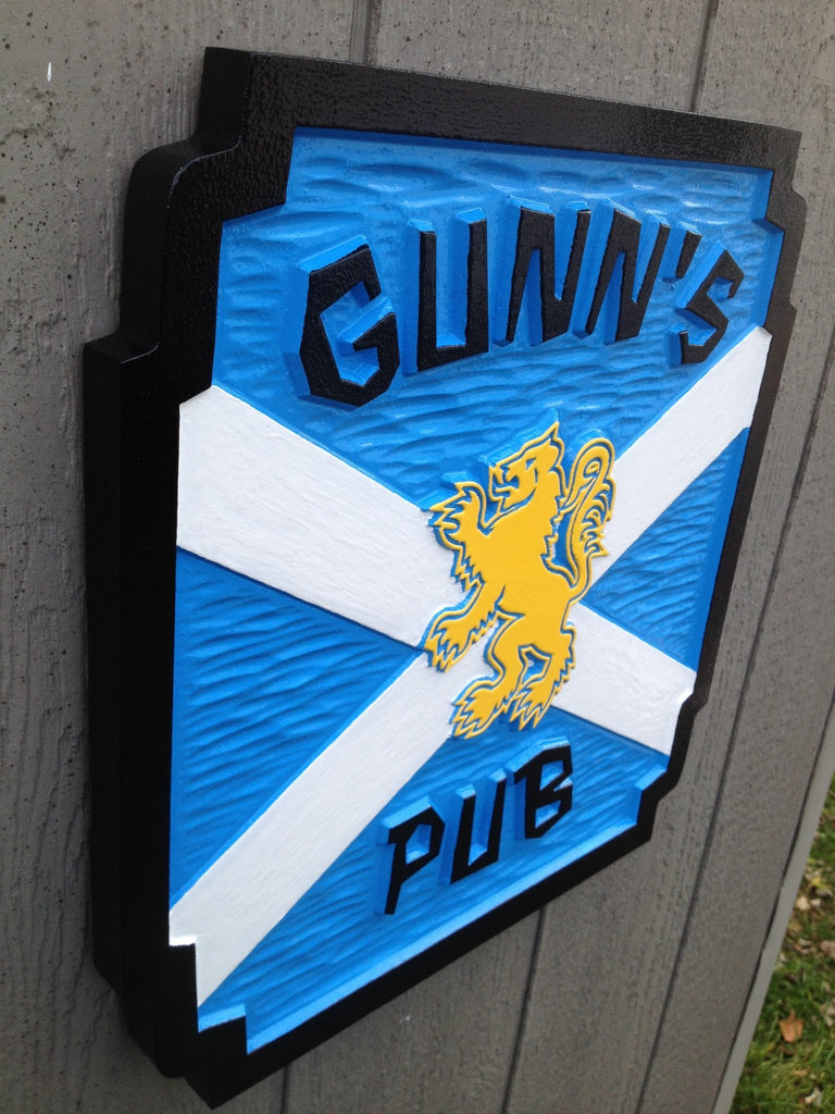 Custom Carved Pub Sign with Scottish Lion (BP41)