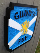 Custom Carved Pub Sign with Scottish Lion (BP41) - The Carving Company
