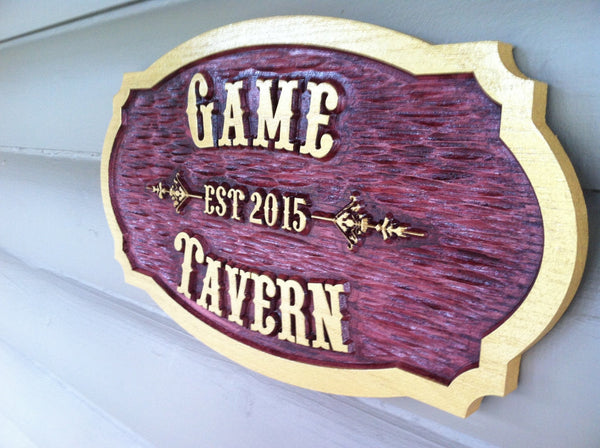 Old west  font cedar tavern sign with est date