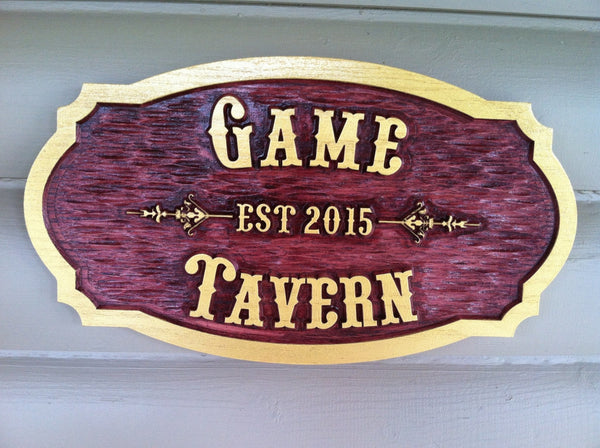 Cedar tavern sign with western font and est date wording Game Tavern