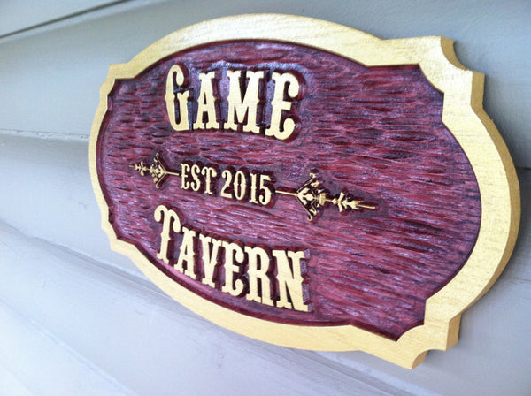 Game Tavern cedar sign with est date -iso