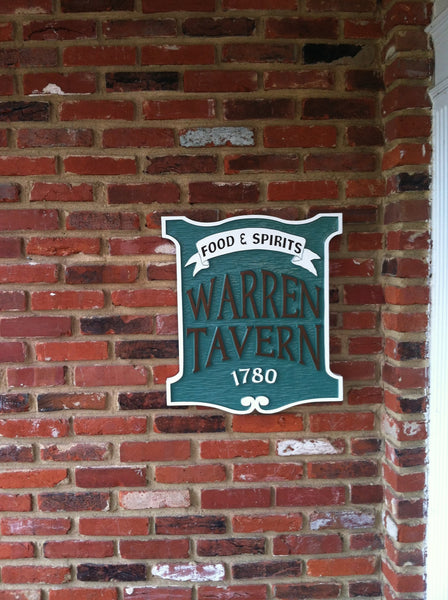 Colonial Boston custom tavern sign with food and spirits banner