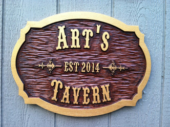 Carved oak bar sign stain personalized with name and established date