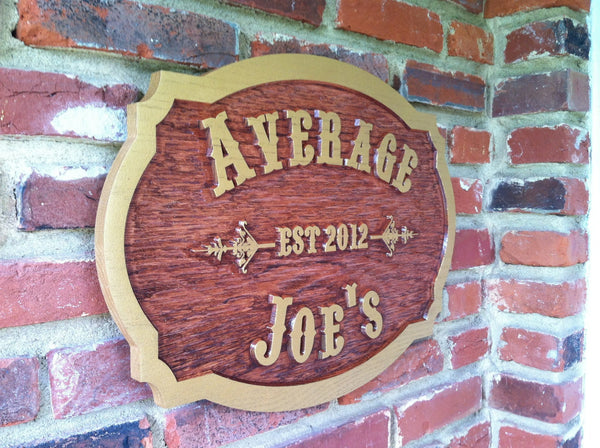 Average Joes cedar bar sign with est date -iso