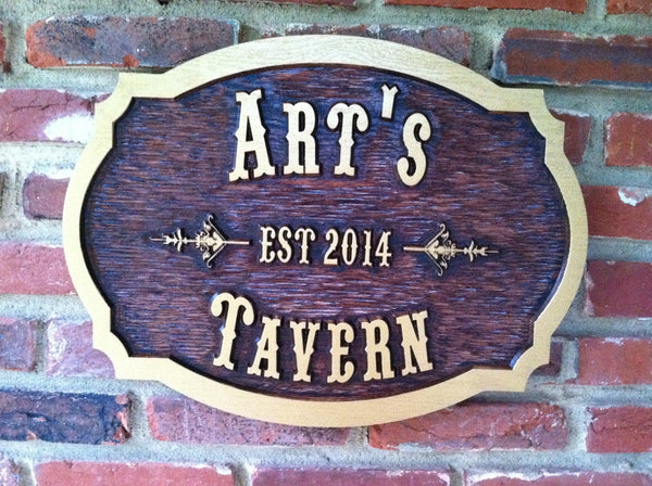 Arts Tavern cedar sign with est date