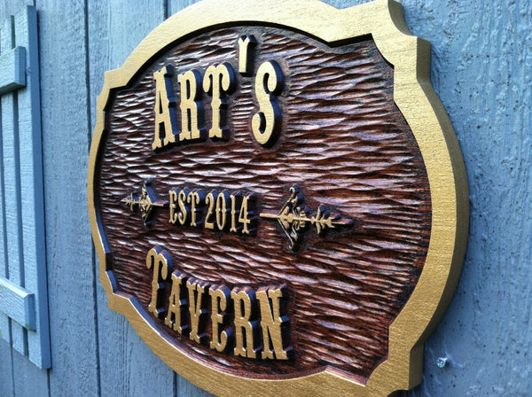 Arts Tavern cedar sign with est date -iso
