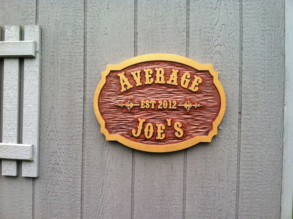 Average Joes cedar bar sign with est date -front