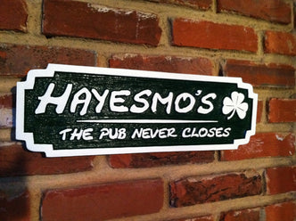 Custom Carved Pub Sign with Your Name and Shamrock(BP32) - The Carving Company