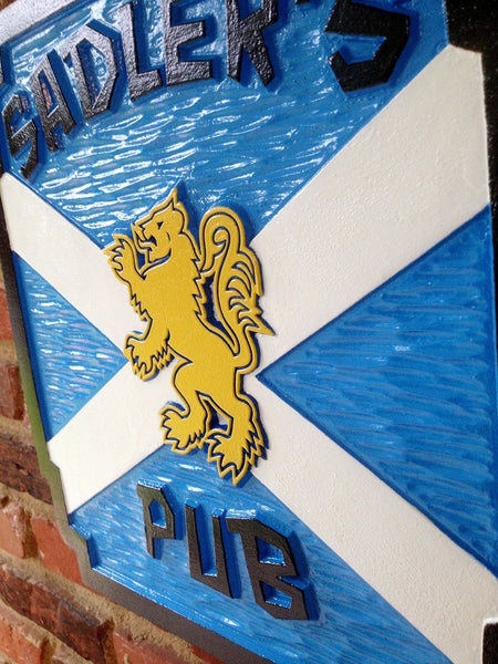 Pub sign Scottish theme with lion and flag