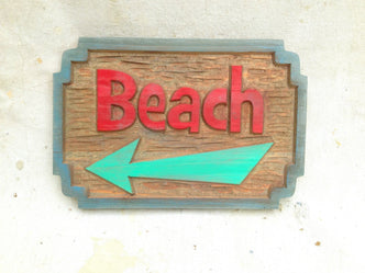 Cedar Carved Beach Sign with direction arrow - Custom Carved Signs (S8) - The Carving Company