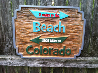 Cedar Carved Beach Sign with directional arrows  (S4) - The Carving Company