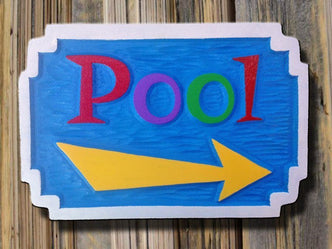 Carved Pool Sign - With Directional Arrow  (S3) - The Carving Company
