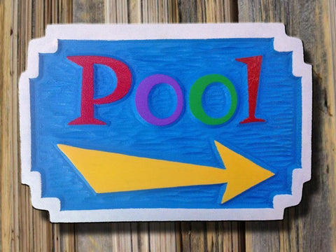 Pool sign with arrow -front