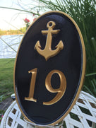 Carved Road Address plaque - House number with anchor or other stock image (HN1) - The Carving Company