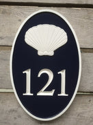 Carved Road Address plaque - House number with shell or other stock image (HN1) - The Carving Company