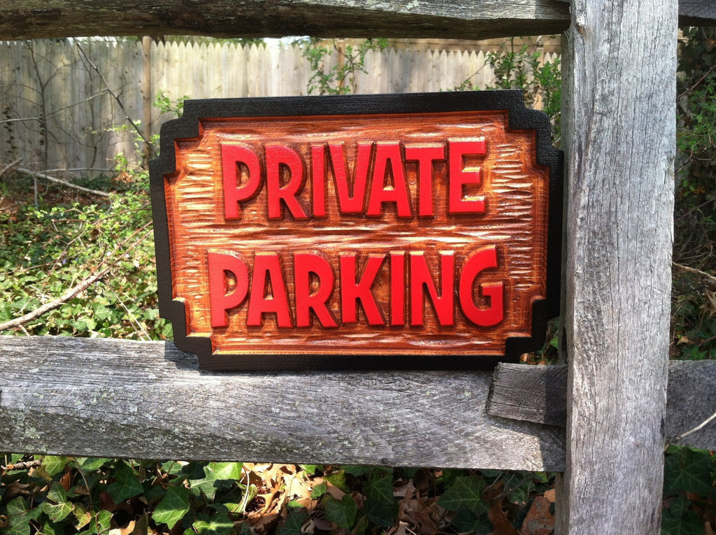 Carved Cedar Private Parking - No Parking - Carved Wood Sign (B68) - The Carving Company
