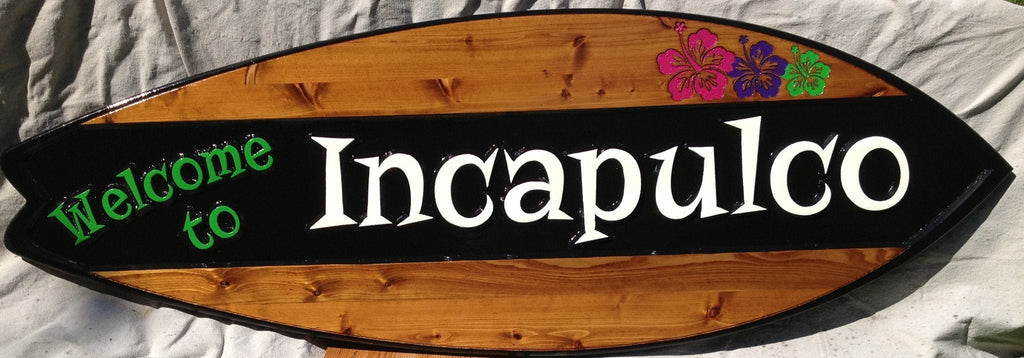 Cedar surfboard sign with estate name