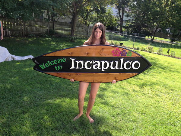 Cedar surfboard sign with estate name -with model