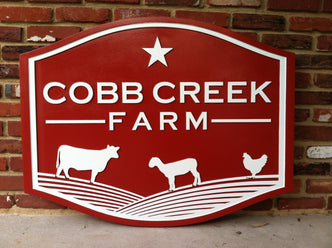 Custom Carved Business Sign - For Farm (B24) - Estate Sign - The Carving Company