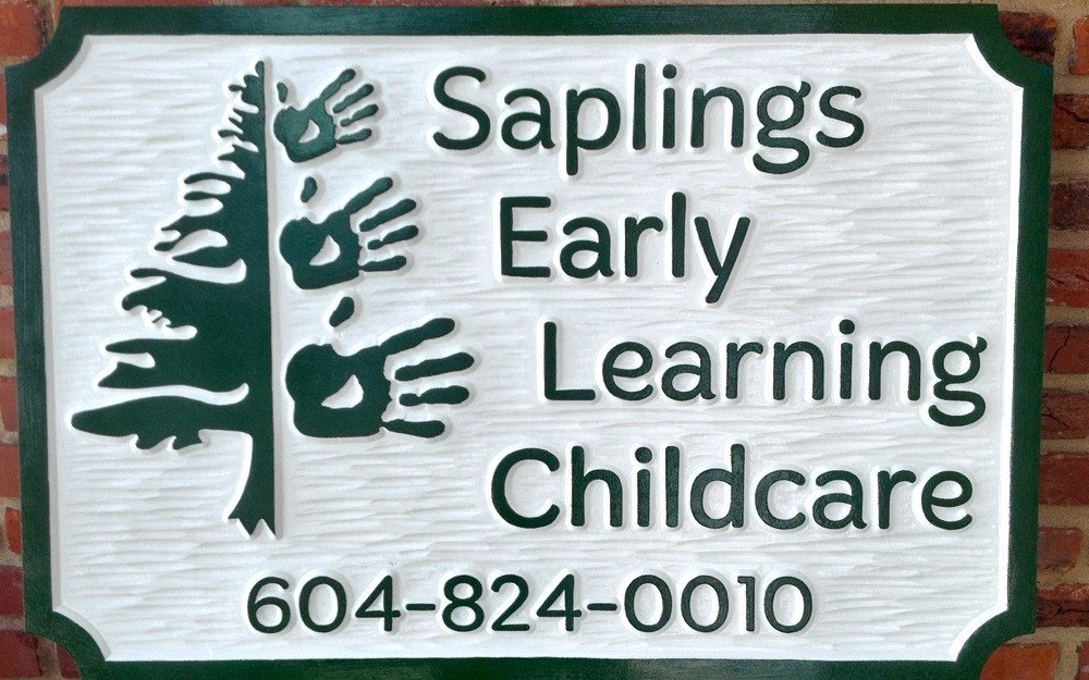 Saplings Early Learning Childcare sign -front