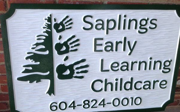 Saplings Early Learning Childcare sign -front2