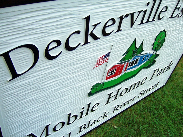 Deckerville Estates Mobile Home Park custom business sign -iso3