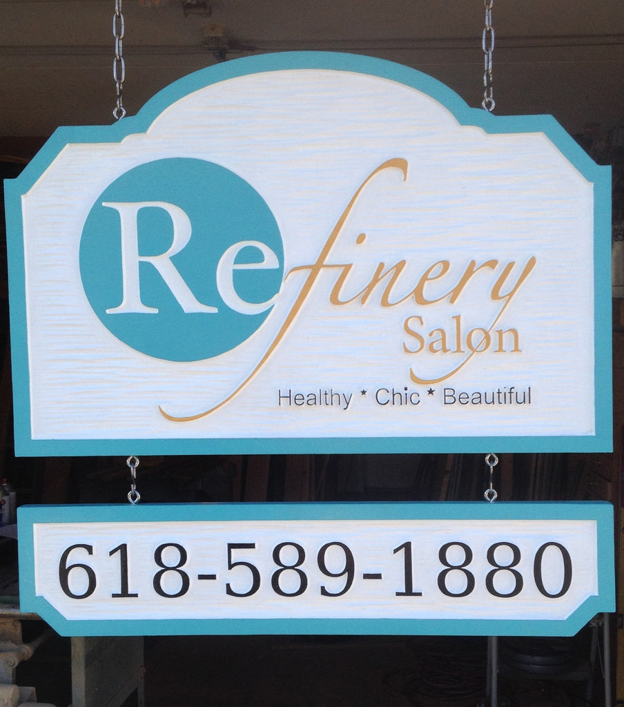 Refinery Salon custom logo business sign -front