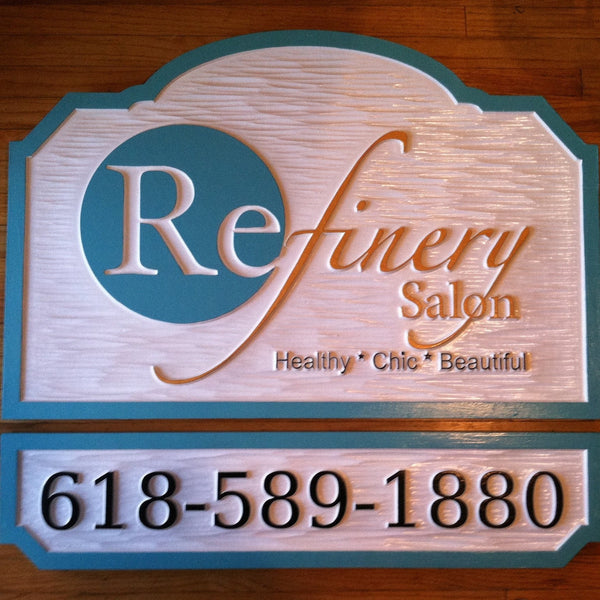 Refinery Salon custom logo business sign -front2
