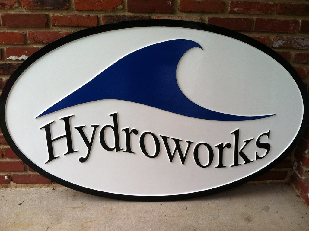 Hydroworks smooth background business sign - front