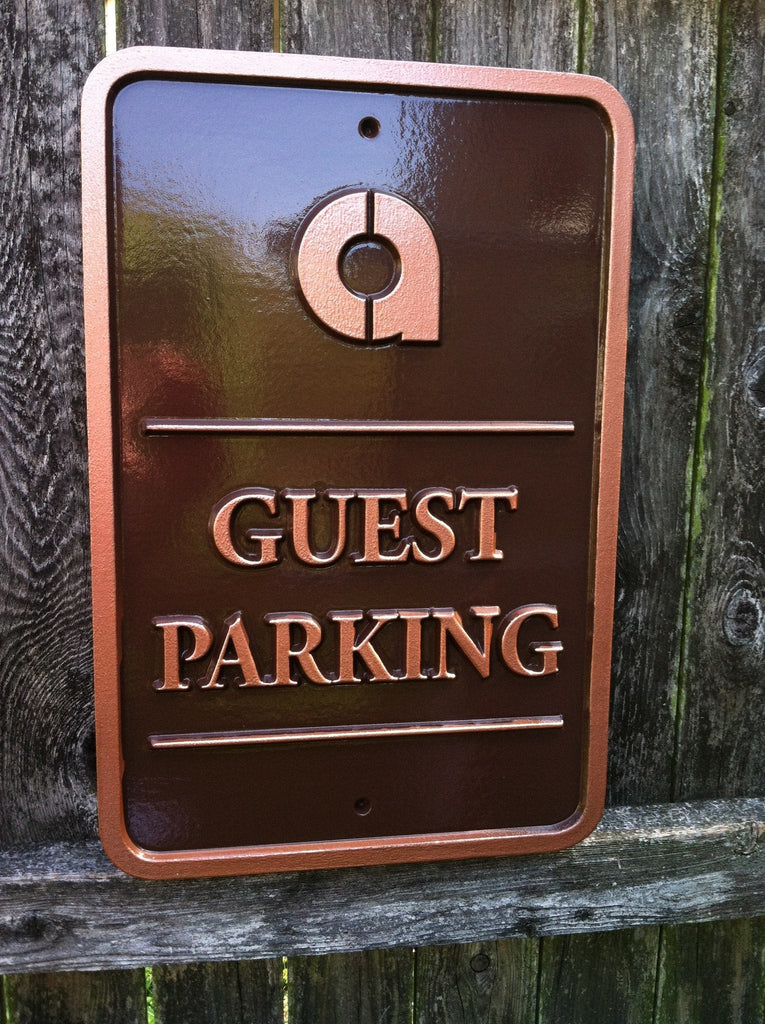 Parking sign with business logo - guest parking