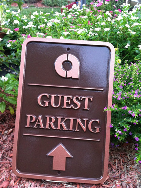 Parking sign with business logo - guest parking with directional arrow