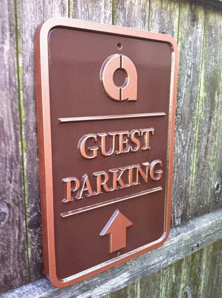 Parking sign with business logo - guest parking with arrow