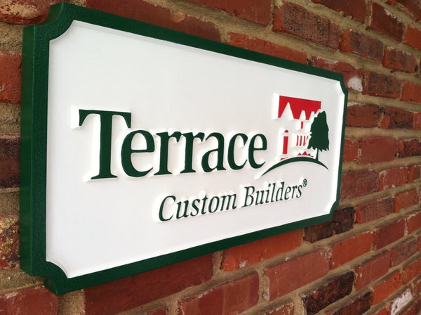 Professional business signs custom made carved the for Online custom home builder