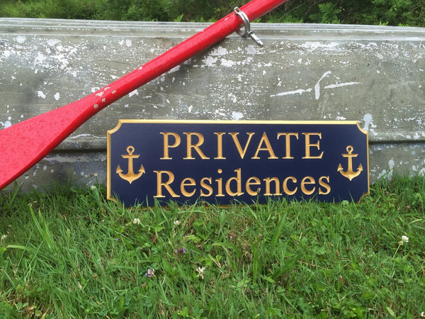 Private Residences sign with anchors