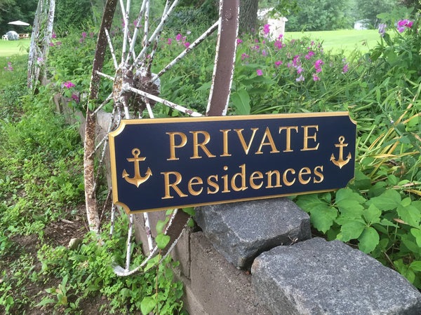 Private Residences sign with anchors -iso