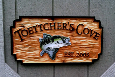 Toettcher's cove cedar camp sign with striped bass front view