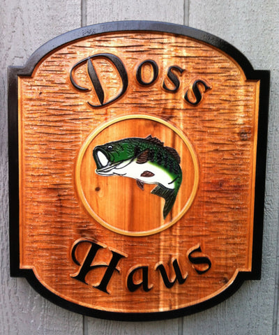 Doss Haus cedar bar sign with bass center image -front
