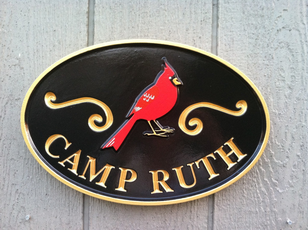 Personalized Camp Name Entrance Sign With Cardinal or other bird (C6) - The Carving Company