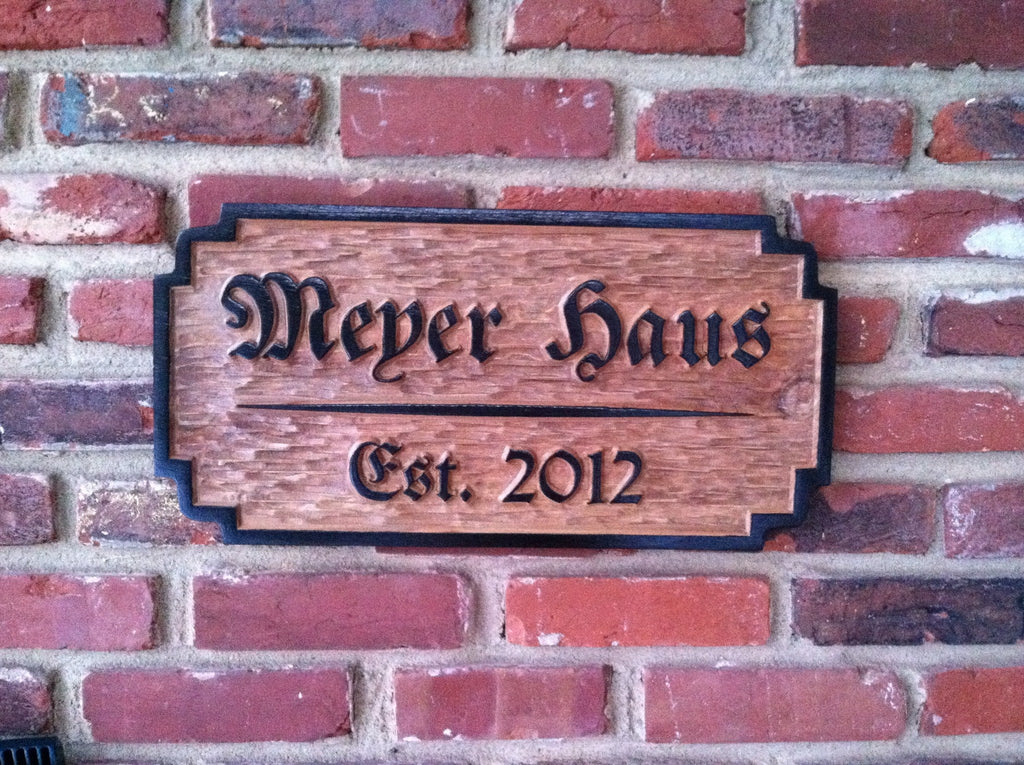 Custom carved wood German theme established sign (LN14) - The Carving Company