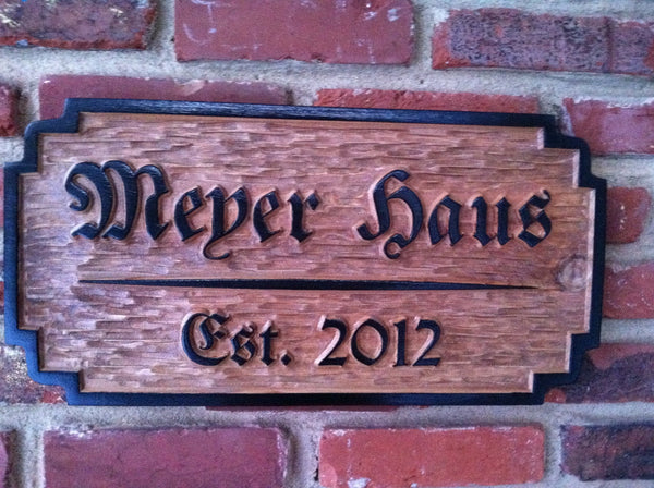 Cedar bar sign with German style font -front
